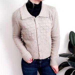 Vintage Textured Knit Tan Cardigan Sweater Small